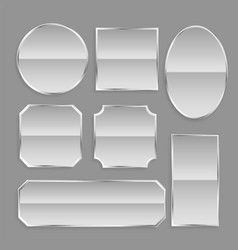 White glossy metal frame buttons with reflection vector