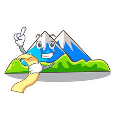 With menu mountain scenery isolated from the vector