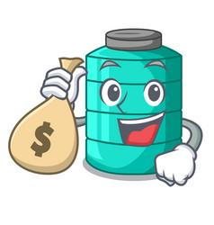 With money bag cartoon big industrial water tank vector