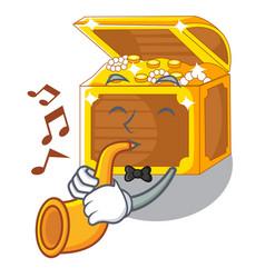 With trumpet treasure underwater cartoons in the vector