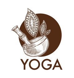 yoga exercise practice pot with leaves monochrome vector image