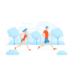 young woman jogging or running in park people vector image