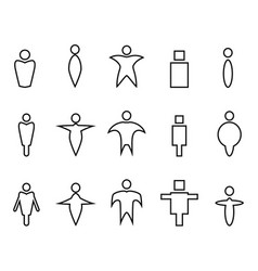 abstract people linear icons vector image