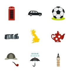 Country United Kingdom icons set flat style vector image
