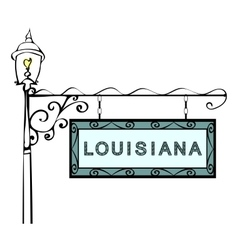 Louisiana retro pointer lamppost Louisiana state vector image vector image
