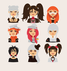 set with lovely visual kei girls characters vector image vector image