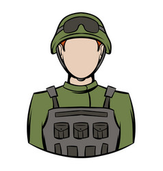 soldier icon cartoon vector image