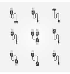 USB cables black icons vector image