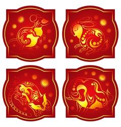 Chinese animals horoscope set vector image vector image