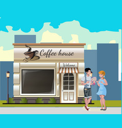 couple having a dinner in street cafe vector image