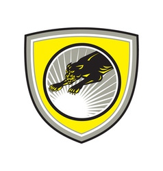 Panther Big Cat Growling Crest vector image
