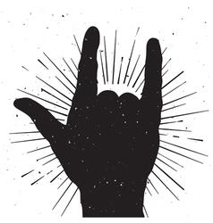Rock hand sign grung silhouette vector