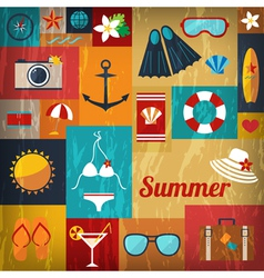 summer retro flat background vector image vector image