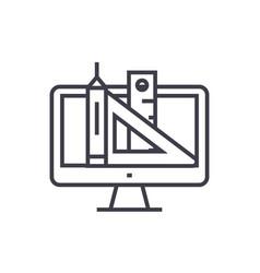 web design pen ruler tools concept thin vector image