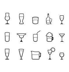 alcohol cup linear icons set vector image