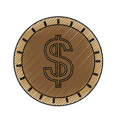 coin cash isolated vector image vector image
