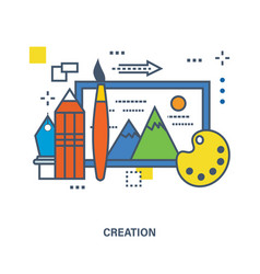 Concept of creative design and free creation vector