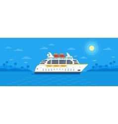 Cruise ship on blue background vector image