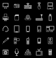 Gadget line icons on black background vector image vector image