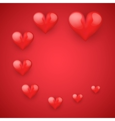 Realistic Red Romantic Hearts Decor vector image