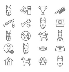dogs and puppy black thin line icon set vector image