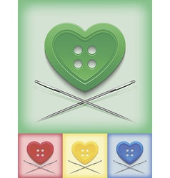 Heart shaped button and crossed needles vector image vector image