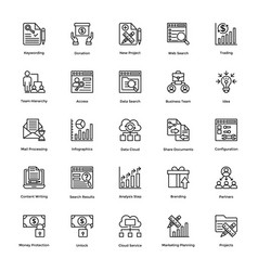 Project management line icons set 14 vector