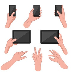 Set of hands using mobile devices vector image vector image