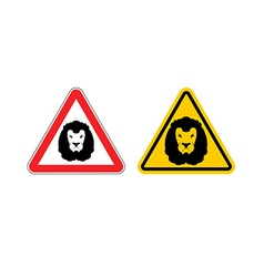 Warning sign lion attention Dangers yellow sign vector image vector image