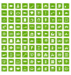 100 coin icons set grunge green vector