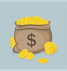 a sack with gold coins with images vector image