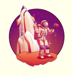 astronaut or spacemen character wearing space suit vector image