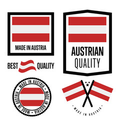 Austria quality label set for goods vector