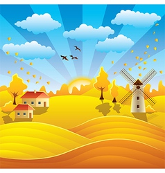 Autumn rural scenery vector