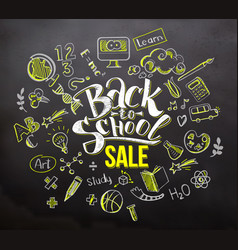 back to school sale on blackboard vector image