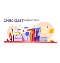 banner with checklist on clipboard and paperwork vector image