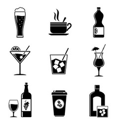 Beverages icons set vector