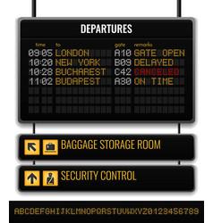 black airport board realistic composition vector image
