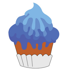 blue cupcake on white background vector image