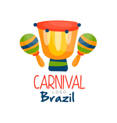 Brazil carnival logo bright festive party banner vector