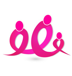 Breast cancer figures ribbon unity group icon vector