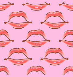 Brush drawn various woman lips seamless vector