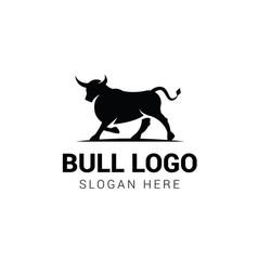 Bull walking logo template isolated on white vector