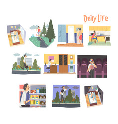 Businessman character daily routine set man vector