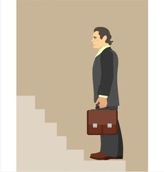 Businessman standing at beginning the vector