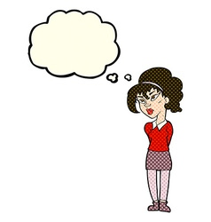Cartoon pretty girl tilting head with thought vector