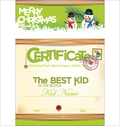 Certificate template the best kid vector