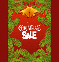 christmas sale with branches on red background vector image