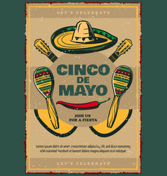 Cinco de mayo sketch retro mexican poster vector