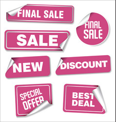 collection pink stickers with rounded corners vector image